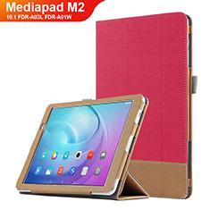 Huawei MediaPad M2 10.1 FDR-A03L FDR-A01W用手帳型 レザーケース スタンド L01 ファーウェイ レッド