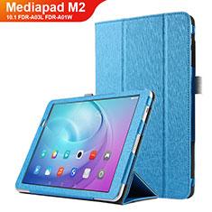 Huawei MediaPad M2 10.1 FDR-A03L FDR-A01W用手帳型 レザーケース スタンド L03 ファーウェイ ブルー