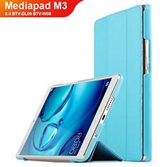 Huawei Mediapad M3 8.4 BTV-DL09 BTV-W09用手帳型 レザーケース スタンド ファーウェイ シアン