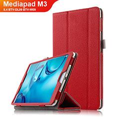 Huawei Mediapad M3 8.4 BTV-DL09 BTV-W09用手帳型 レザーケース スタンド L03 ファーウェイ レッド