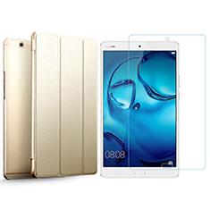 Huawei MediaPad M3用手帳型 レザーケース スタンド 液晶保護フィルム ファーウェイ ゴールド