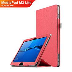 Huawei MediaPad M3 Lite 10.1 BAH-W09用手帳型 レザーケース スタンド ファーウェイ レッド