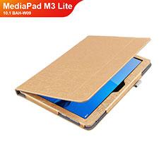 Huawei MediaPad M3 Lite 10.1 BAH-W09用手帳型 レザーケース スタンド L01 ファーウェイ ゴールド