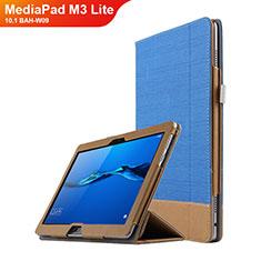 Huawei MediaPad M3 Lite 10.1 BAH-W09用手帳型 レザーケース スタンド L02 ファーウェイ ネイビー