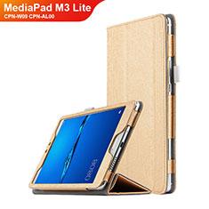 Huawei MediaPad M3 Lite 8.0 CPN-W09 CPN-AL00用手帳型 レザーケース スタンド ファーウェイ ゴールド