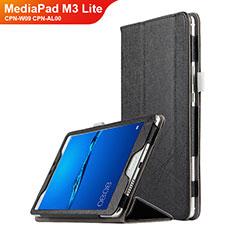 Huawei MediaPad M3 Lite 8.0 CPN-W09 CPN-AL00用手帳型 レザーケース スタンド ファーウェイ ブラック