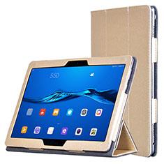 Huawei MediaPad M3 Lite用手帳型 レザーケース スタンド ファーウェイ ゴールド