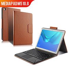 Huawei MediaPad M5 10.8用手帳型 レザーケース スタンド アンド キーボード ファーウェイ ブラウン
