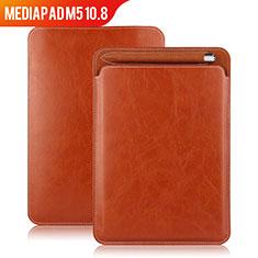 Huawei MediaPad M5 10.8用手帳型 レザーケース スタンド ファーウェイ ブラウン
