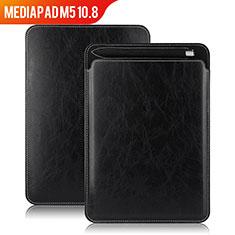 Huawei MediaPad M5 10.8用手帳型 レザーケース スタンド ファーウェイ ブラック