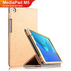 Huawei MediaPad M5 8.4 SHT-AL09 SHT-W09用手帳型 レザーケース スタンド L02 ファーウェイ ゴールド