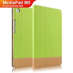 Huawei MediaPad M5 8.4 SHT-AL09 SHT-W09用手帳型 レザーケース スタンド L04 ファーウェイ グリーン