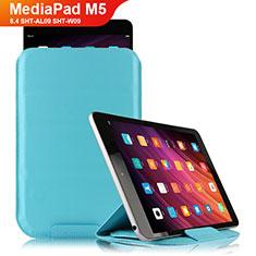 Huawei MediaPad M5 8.4 SHT-AL09 SHT-W09用手帳型 レザーケース スタンド L06 ファーウェイ ブルー