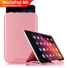 Huawei MediaPad M5 8.4 SHT-AL09 SHT-W09用手帳型 レザーケース スタンド L06 ファーウェイ ピンク