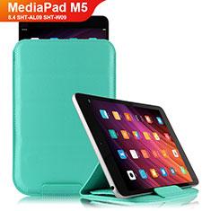 Huawei MediaPad M5 8.4 SHT-AL09 SHT-W09用手帳型 レザーケース スタンド L06 ファーウェイ シアン