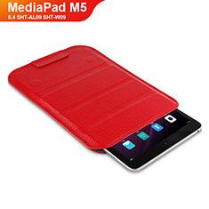 Huawei MediaPad M5 8.4 SHT-AL09 SHT-W09用手帳型 レザーケース スタンド L07 ファーウェイ レッド