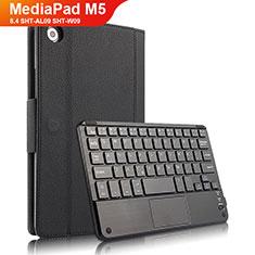 Huawei MediaPad M5 8.4 SHT-AL09 SHT-W09用手帳型 レザーケース スタンド アンド キーボード ファーウェイ ブラック