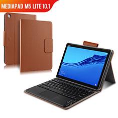 Huawei MediaPad M5 Lite 10.1用手帳型 レザーケース スタンド アンド キーボード ファーウェイ ブラウン