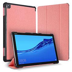 Huawei MediaPad M5 Lite 10.1用手帳型 レザーケース スタンド カバー ファーウェイ ピンク