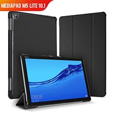 Huawei MediaPad M5 Lite 10.1用手帳型 レザーケース スタンド カバー ファーウェイ ブラック
