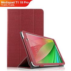 Huawei Mediapad T1 10 Pro T1-A21L T1-A23L用手帳型 布 スタンド ファーウェイ レッド