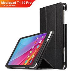 Huawei Mediapad T1 10 Pro T1-A21L T1-A23L用手帳型 レザーケース スタンド L01 ファーウェイ ブラック