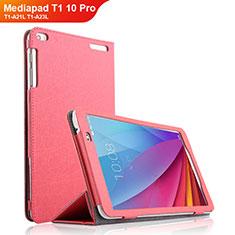Huawei Mediapad T1 10 Pro T1-A21L T1-A23L用手帳型 レザーケース スタンド ファーウェイ ローズレッド