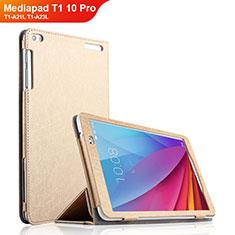 Huawei Mediapad T1 10 Pro T1-A21L T1-A23L用手帳型 レザーケース スタンド ファーウェイ ゴールド