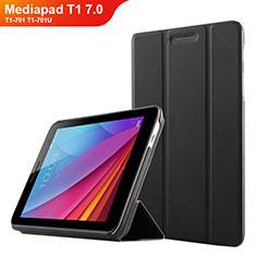 Huawei Mediapad T1 7.0 T1-701 T1-701U用手帳型 レザーケース スタンド ファーウェイ ブラック