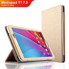 Huawei Mediapad T1 7.0 T1-701 T1-701U用手帳型 レザーケース スタンド L01 ファーウェイ ゴールド