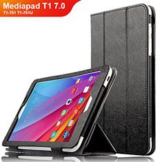 Huawei Mediapad T1 7.0 T1-701 T1-701U用手帳型 レザーケース スタンド L01 ファーウェイ ブラック