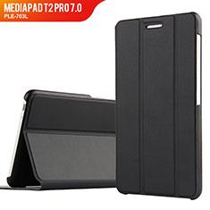 Huawei MediaPad T2 Pro 7.0 PLE-703L用手帳型 レザーケース スタンド ファーウェイ ブラック