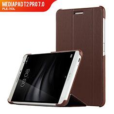 Huawei MediaPad T2 Pro 7.0 PLE-703L用手帳型 レザーケース スタンド R01 ファーウェイ ブラウン