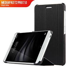 Huawei MediaPad T2 Pro 7.0 PLE-703L用手帳型 レザーケース スタンド R01 ファーウェイ ブラック