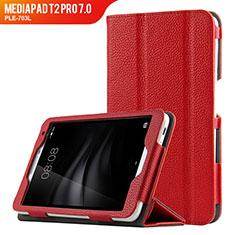 Huawei MediaPad T2 Pro 7.0 PLE-703L用手帳型 レザーケース スタンド L02 ファーウェイ レッド
