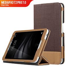 Huawei MediaPad T2 Pro 7.0 PLE-703L用手帳型 レザーケース スタンド L01 ファーウェイ ブラウン