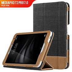 Huawei MediaPad T2 Pro 7.0 PLE-703L用手帳型 レザーケース スタンド L01 ファーウェイ ブラック