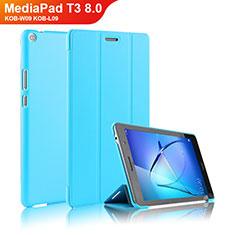 Huawei MediaPad T3 8.0 KOB-W09 KOB-L09用手帳型 レザーケース スタンド ファーウェイ ブルー