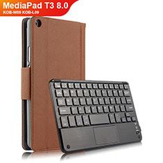 Huawei MediaPad T3 8.0 KOB-W09 KOB-L09用手帳型 レザーケース スタンド アンド キーボード ファーウェイ ブラウン