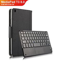 Huawei MediaPad T3 8.0 KOB-W09 KOB-L09用手帳型 レザーケース スタンド アンド キーボード ファーウェイ ブラック