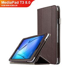 Huawei MediaPad T3 8.0 KOB-W09 KOB-L09用手帳型 レザーケース スタンド L01 ファーウェイ ブラウン
