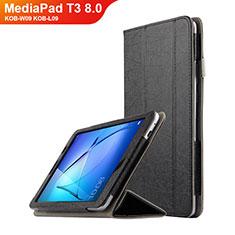 Huawei MediaPad T3 8.0 KOB-W09 KOB-L09用手帳型 レザーケース スタンド L01 ファーウェイ ブラック