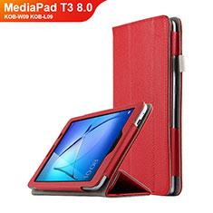 Huawei MediaPad T3 8.0 KOB-W09 KOB-L09用手帳型 レザーケース スタンド L02 ファーウェイ レッド