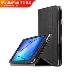 Huawei MediaPad T3 8.0 KOB-W09 KOB-L09用手帳型 レザーケース スタンド L02 ファーウェイ ブラック