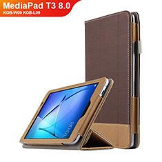 Huawei MediaPad T3 8.0 KOB-W09 KOB-L09用手帳型 レザーケース スタンド L03 ファーウェイ ブラウン
