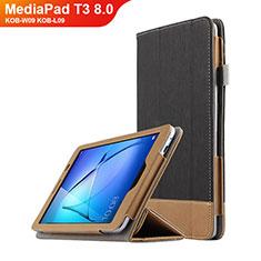 Huawei MediaPad T3 8.0 KOB-W09 KOB-L09用手帳型 レザーケース スタンド L03 ファーウェイ ブラック