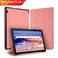 Huawei MediaPad T5 10.1 AGS2-W09用手帳型 レザーケース スタンド カバー ファーウェイ ピンク