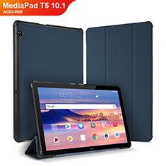 Huawei MediaPad T5 10.1 AGS2-W09用手帳型 レザーケース スタンド カバー ファーウェイ ネイビー