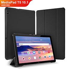 Huawei MediaPad T5 10.1 AGS2-W09用手帳型 レザーケース スタンド カバー ファーウェイ ブラック