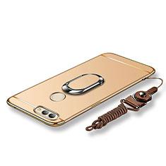 Huawei Nova 2用ケース 高級感 手触り良い メタル兼プラスチック バンパー アンド指輪 亦 ひも ファーウェイ ゴールド